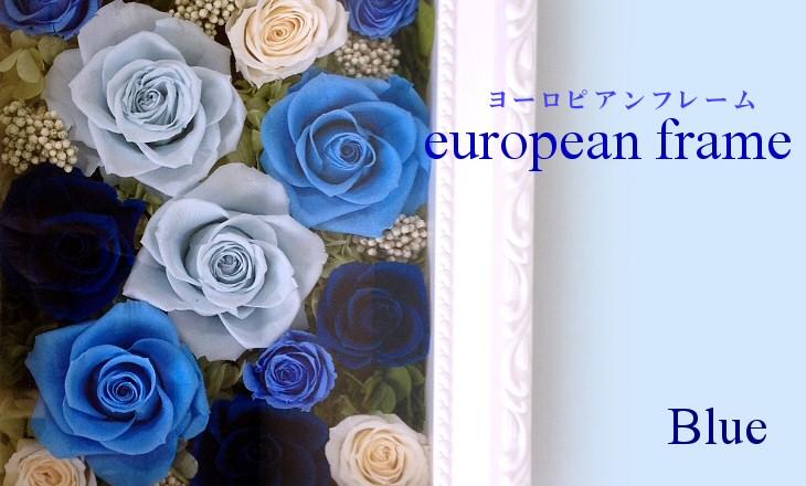 ヨーロピアンフレーム・ミディアム(ブルー)【プリザーブドフラワー】