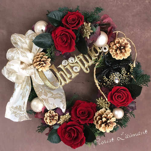 フェスティブクリスマス01【プリザーブドフラワー】