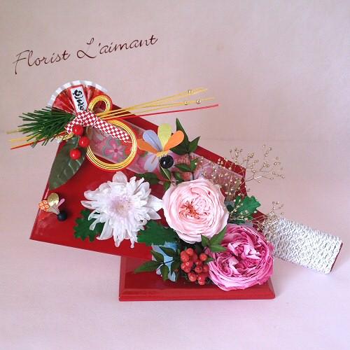 羽子板飾り(ピンク)【プリザーブドフラワー】