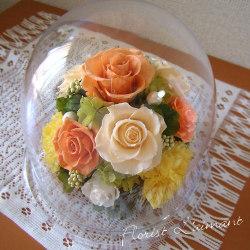 取引先 上司 恩師への誕生日祝いのプリザーブドフラワー 人気1位  グレイス(オレンジ)