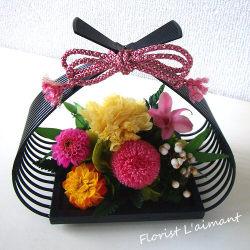 敬老の日プリザーブドフラワー 花籠(ピンク)