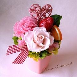 フラワーケーキ<ハートパルフェ(ピンク)>