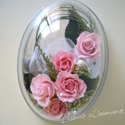 敬老の日プリザーブドフラワー オーバルドーム(ピンク)