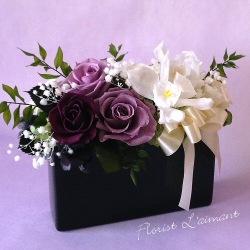お供え、お悔やみ花のプリザーブドフラワー「レクイエム(ラベンダー)」