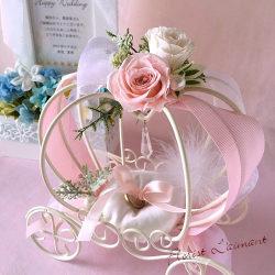馬車のリングピロー(ピンク)