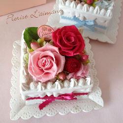 フラワーケーキ<スクエアケーキ(ピンク)>