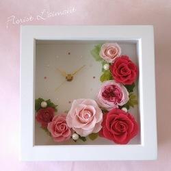 敬老の日プリザーブドフラワー スワロクロックS(ピンク)