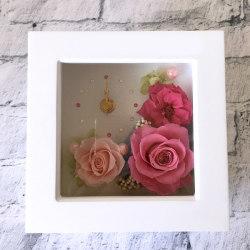 歓送迎・送別花のプリザーブドフラワー「スワロクロックSS(ピンク)」