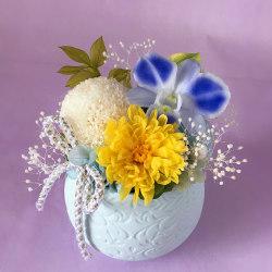 お供え、お悔やみ花のプリザーブドフラワー「てまり(ブルー)」