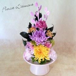 お供え、お悔やみ花のプリザーブドフラワー「優香(ピンク)」