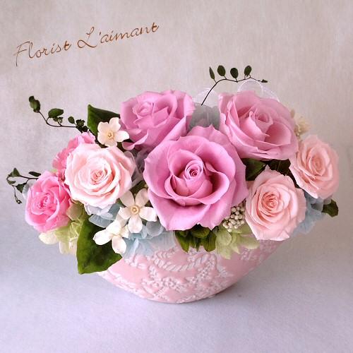 薔薇が咲き誇るスウィートアレンジ|ベルセゾン(ピンク)