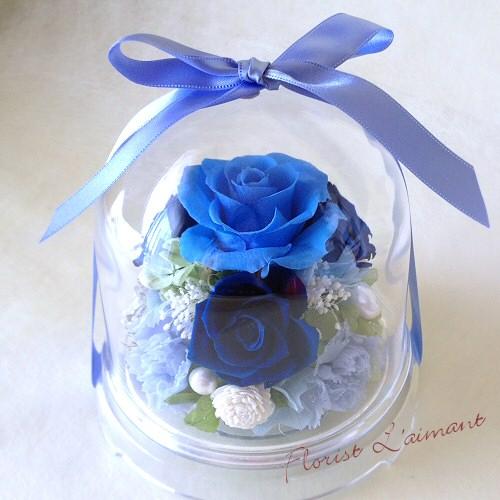 ドームにお花を封じ込めた人気のプリザーブドフラワー|チャーム(ブルー)