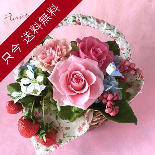 母の日プリザーブドフラワー 小さな妖精(ピンク)