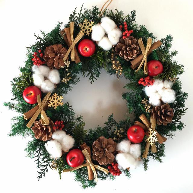 クリスマスリース 人気2位 ハッピークリスマス Mサイズ(レッド)