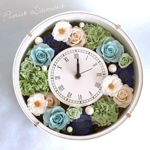 御結婚祝いや新築祝いに プリザーブドフラワーの花時計|クロノス・セルクル(ブルー)