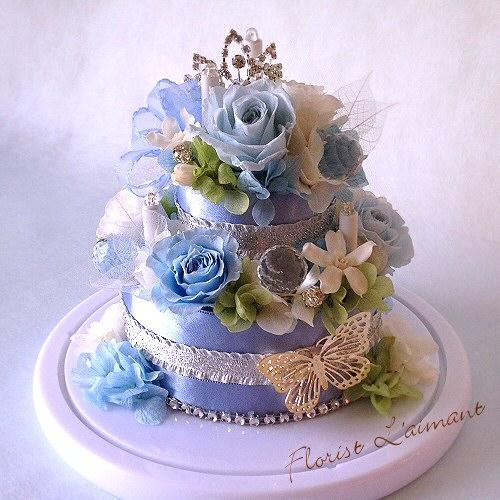 LEDキャンドルが輝く お花のデコレーションケーキ|ルミケーキ(ライトブルー)