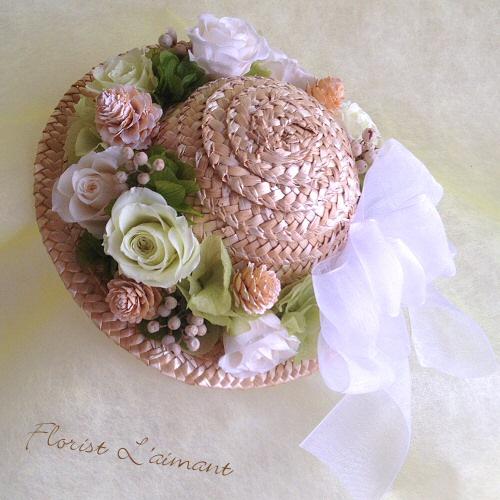 麦わら帽子の花飾り(ホワイト)