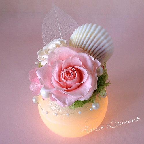 ほのかな優しい光を放つ真珠のようなアレンジ|パールボール(ピンク)