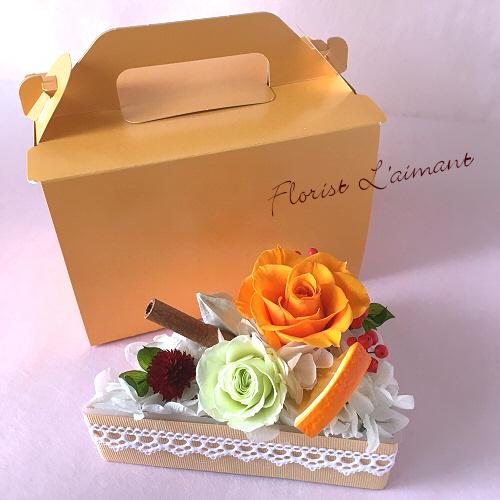ショートケーキ型のフラワーケーキ|ローズケーキ(オレンジ)