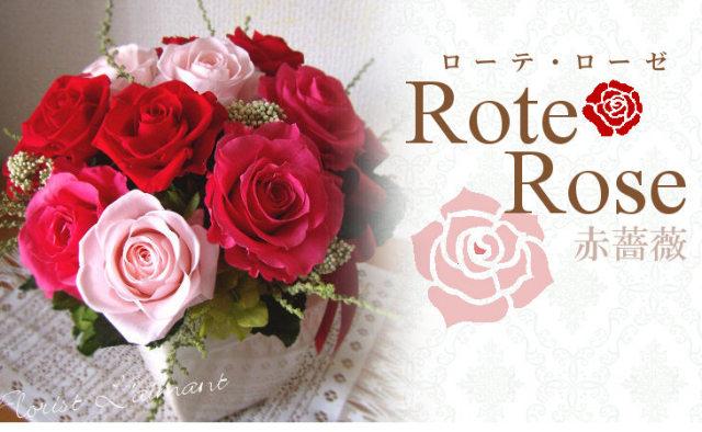 彼女 妻への誕生日祝いのプリザーブドフラワー 人気2位  ローテローゼ(レッド)