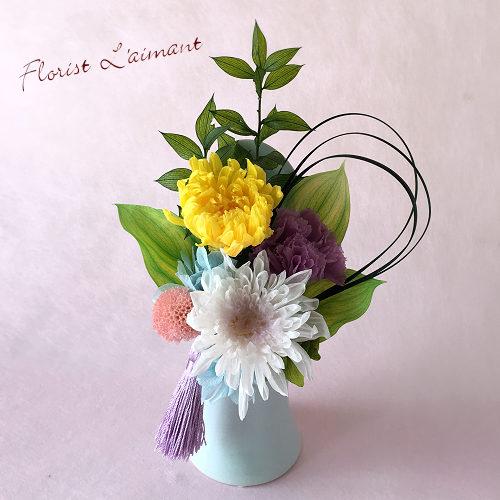 コンパクトでさりげない雰囲気の仏花|しのぶ