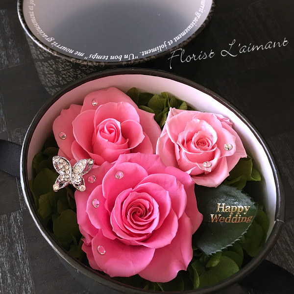 5000円までの結婚祝いのプリザーブドフラワー 人気3位  トリプレッツ(ピンク)