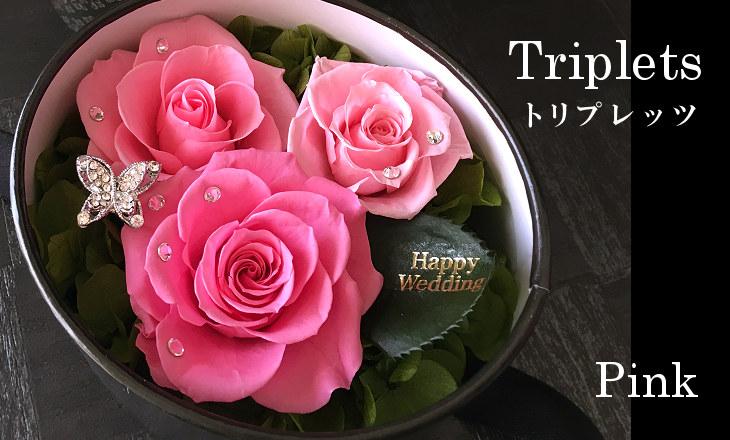 トリプレッツ(ピンク)【プリザーブドフラワー】