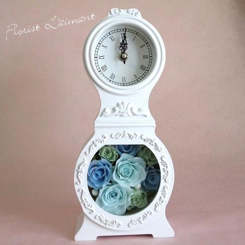 結婚祝い、新築祝いにおすすめ プリザーブドフラワーの花時計|ヴィクトリアン(ブルー)