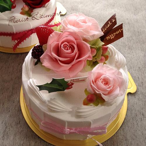 クリスマスケーキ(ピンク)【プリザーブドフラワー】